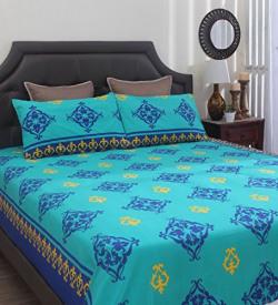 Home Ecstasy 100% Cotton Printed Bedsheet Set 3030 (Blue, Double)