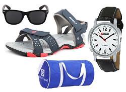 Lotto Sandal Combo of Watch,Sunglass & Globalite Duffle Bag UK/IN-9