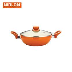 Nirlon Aluminium Deep Kadai with Lid, 3 Litres, Orange