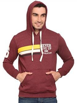 abof Men Maroon Melange Printed Regular Fit Hooded Sweatshirt