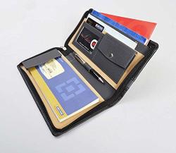 COI Leatherite Cheque Book Holder Document Folder ,Black & Grey