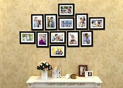 Painting Mantra Art Strret Zig Zag Wall Photo Frames (Glass, 6 x 8 Inches, Set of 12, Black)