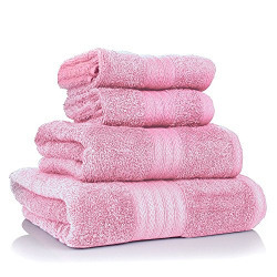 4 Piece Pure Cotton 400 GSM Towel Set-Light Pink-By Cloth Fusion