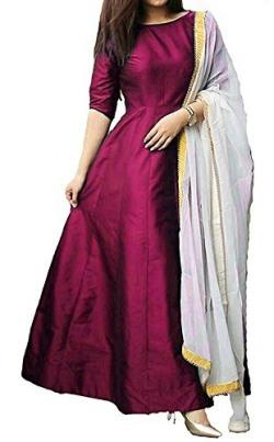 Purva Art Womens Wine Tapeta Silk Stitched Long Gown With Off White Dupatta (PA_2605_Wine_Tapeta Silk_Stitched_JFW-125) (Small)