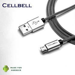 Cellbell® Original Tough Micro USB to USB Cable with charging speeds up to 2.4Amps - 6 Feet (2 Meters) - Black