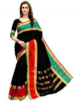 Glory Sarees Women's Cotton Silk Saree(jari121_black)