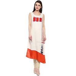 Rangmanch By Pantaloons Women's Asymmetrical Hemline Rayon Kurta (205000005733975_White_Large)