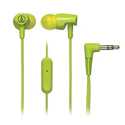 Audio-Technica SonicFuel ATH-CLR100ISLG In-Ear Headphones with Mic (Lime Green)