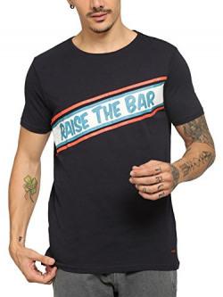 abof Men Navy Printed Regular Fit T-shirt