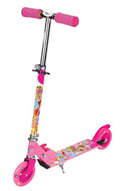 TOYHOUSE Two Wheeled Metal Folding Skate Scooter with Light up Wheels and Height Adjustable Handlebar Pink