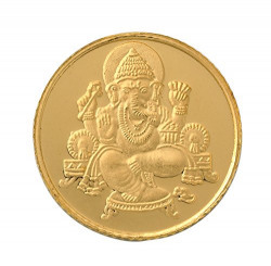 Bangalore Refinery 1 gm, 24k (999) Yellow Gold Ganesh Coin