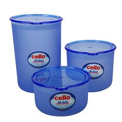 Cello Avion Plastic Container Set, 3-Pieces, Blue
