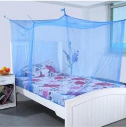 Shahji Creation Nylon Adults shahji creation single bed blue Mosquito Net