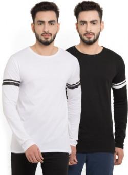 Billion PerfectFit Solid Men Round Neck White, Black T-Shirt