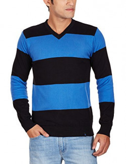 United Colors of Benetton Men's Cotton Sweater (8903975033184_15A1098K8017I901EL_XX-Large_Blue and Black)