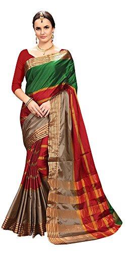 Ruchika Fashion Women'S Multi-Coloured Cotton Silk Saree With Blouse Piece-(R-AAYESHA-GREENRED)
