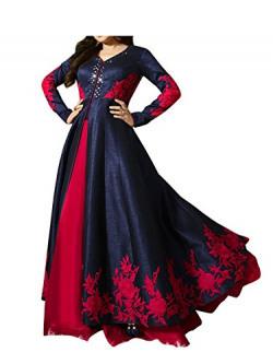 Royal Export Women's Bangalori Silk Anarkali Semi-Stitched Salwar Suit (Blue)