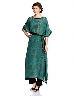 Tarun Tahiliani Designer Women's Kaftan (MF-KF-1_Teal_Large)