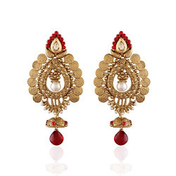 I Jewels Traditional Gold Plated Temple Jhumka Earrings for Women E2240R (Red)