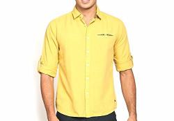 Abof Men's Casual Shirt (ABOFS16AMCWSH11631010L_Yellow_Large)