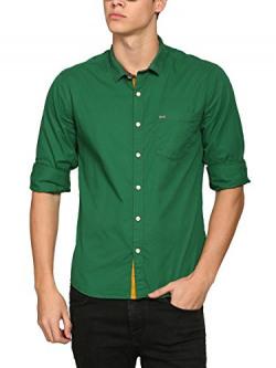 abof Men Dark Green Slim Fit Casual Shirt