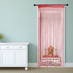 Story@Home Fancy SparklingString Beads Polyester Hanging Curtain - 7ft, Red