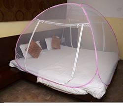 Bedspun Foldable King Size Mosquito Net For Double Bed with Soft Mesh and 2 Side Zipper Opening Doors White (200x200cm)