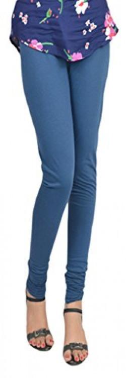 Vimal Denim Blue Cotton Lycra Leggings For Girls