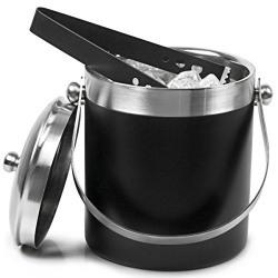 king traders -Stainless steel Ice Bucket Black - 1750ml