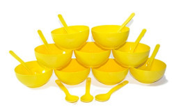 OLIVEWARE ROUND BIG BOWL WITH SPOON 18 PCS SET (MICROWAVE SAFE) (YELLOW)