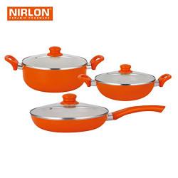 Nirlon Ceramic Cookware Set, 3-Pieces, Orange (BT-CC-FP-K22-C)