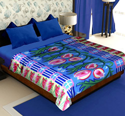 Story@Home Cloral Collection Fleece Floral Polyester Double Blanket - Blue