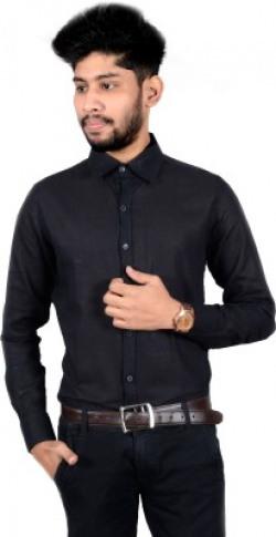 Chaman Handicrafts Men's Solid Casual Black Shirt