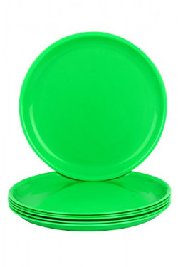 Day2Day Forever Green Microwave Safe Dinner Plates Set Pack of 6 (27x27x2 cm)