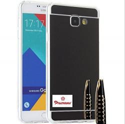 Samsung Galaxy A7 / A710 Soft Black TPU Metal Bumper with Acrylic Mirror Back Designer Cover Case by Premsons