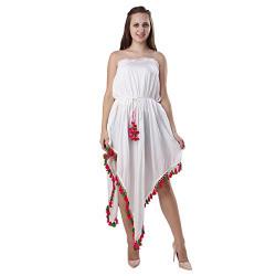 Secret Bazaar Superb White Colored Party Wear Solid Dress