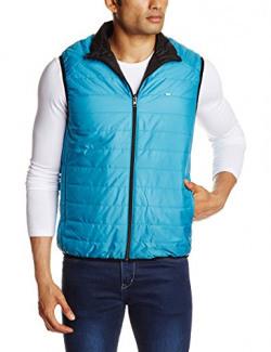 Lee Men's Synthetic Jacket (8907222308032_LEJK1169_XL_Aqua and graphite)