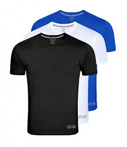 AWG Men's Dryfit Polyester Round Neck Half Sleeve T-shirts - Pack of 3 - AWGDFT-BL-WH-RB-L