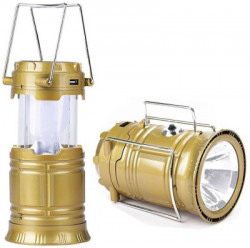 MM Solar Powered LED Rechargeable Lantern with three way power option - Solar Power or AABatteries or AC Power. Emergency Light Lamp Torch Gold Plastic Lantern