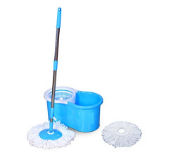 Generic Easy Magic Floor Mop 360° Bucket 2 Heads Microfiber Spin Spinning Rotating Head (Color May Vary)