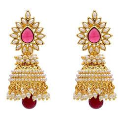 Youbella Red Gold Plated Pearl Earrings Jhumki / Jhumka Earrings For Women