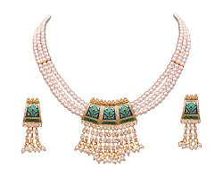 Sitashi ethnic 18 K gold plated , White Created Pearl Rajsthani Meenakari Necklace Set for Girls and Women (Blue-Green)