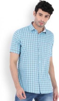 LAWMAN PG3 Men's Checkered Casual Blue Shirt