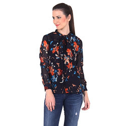 Vvoguish Women's Regular Fit Cotton Top (VVSHT1013NVYFLWR_Navy_36)