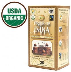 Pride Of India Energise Ayurveda Tulsi Herbal Tea, 25 Tea Bags [USDA Organic & Fairtrade Certified]
