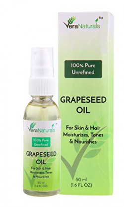 Vera Naturals Grapeseed Oil, 50ml, Vitis Vinifera, 100% Pure Natural Carrier Oil for Hair & Skin, Rich in Vitamin A, E and K- Helps Reduce Wrinkles