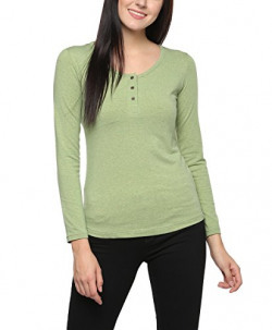 American Crew Women's Long Sleeves Green Buttoned Top - L (ACZ20-L)
