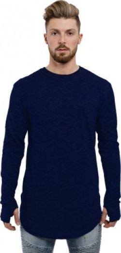 Young Trendz Self Design Men's Round Neck Dark Blue T-Shirt