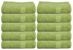 Trident 400 GSM 10 Pcs Face Towels - Garden Green