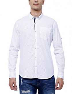 Highlander Men's Casual Shirt (13110001510127_HLSH009216_Large_White)